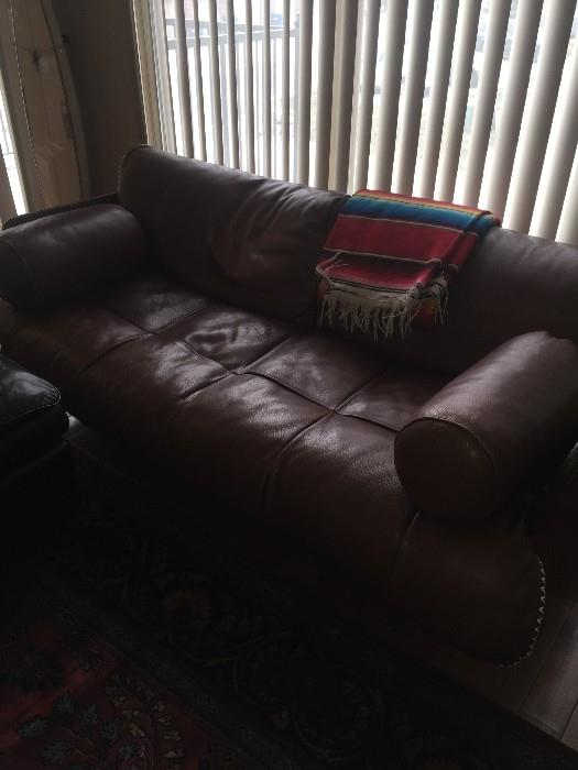 CUSTOM MADE PALM WOOD / METAL AND LEATHER SOFA