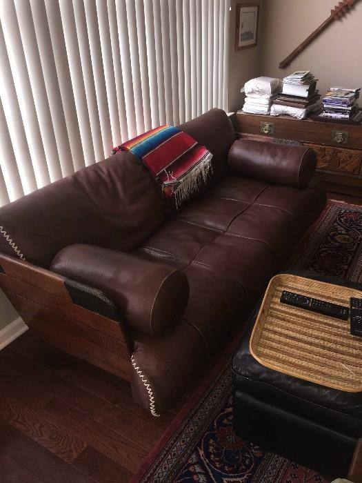 CUSTOM MADE SOFTEST LEATHER PALM WOOD AND METAL SOFA