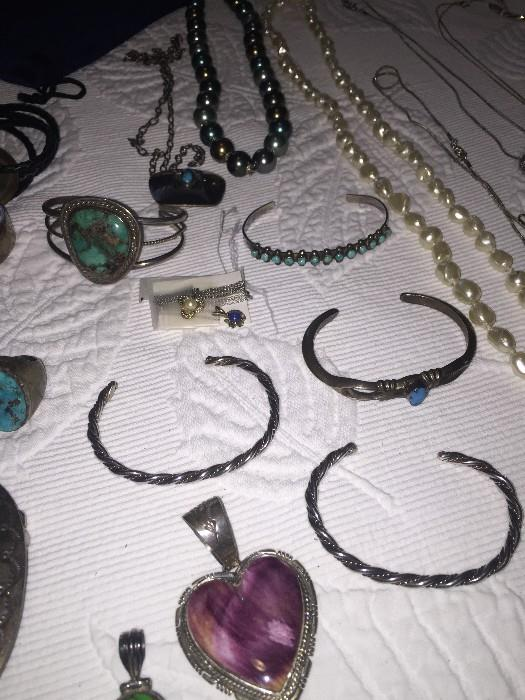 STERLING SILVER NAVAJO AND ZUNI JEWELRY