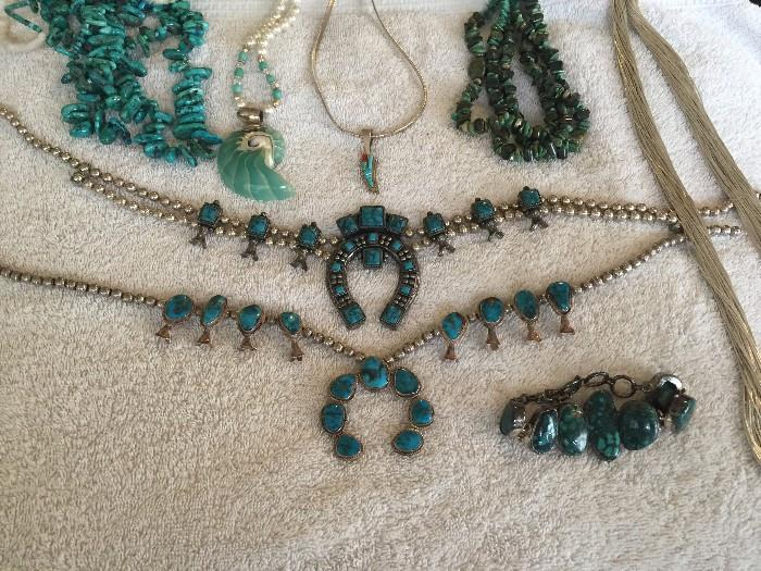 NATIVE AMERICAN TURQUOISE NAVAJO AND ZUNI JEWELRY