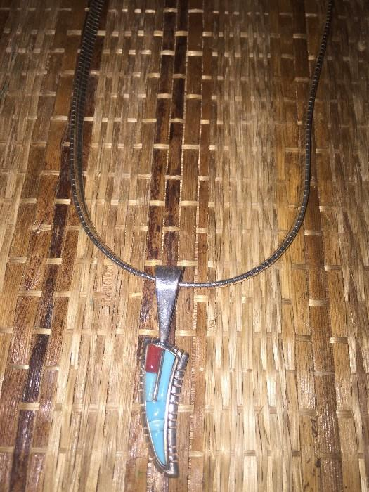 NAVAJO TURQUOISE AND CORAL STERLING SILVER NECKLACE