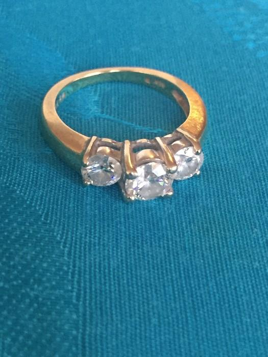 1.5CT 3 STONE DIAMOND RING APPRAISED AT $3,390