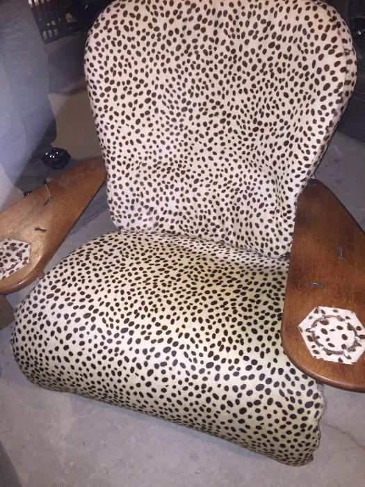 CUSTOM MADE COWHIDE CHAIR AND OTTOMAN
