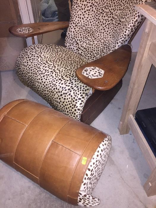 CUSTOM MADE COWHIDE CHAIR WITH OTTOMAN