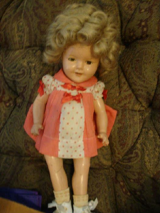 Composition Shirley Temple Doll, and Shirley Temple Scrap book