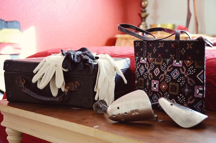 Womens' Gloves, Shoe Stretchers, and Beaded Purse