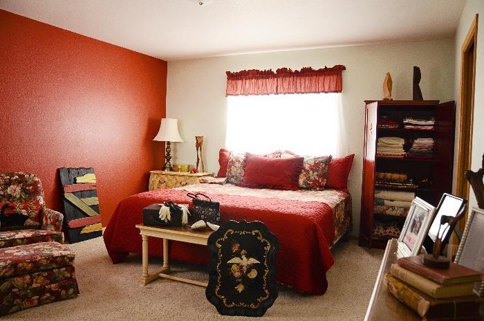 King Bed Mattress Set, Upholstered Armchair, Linens, Wooden Sculpture