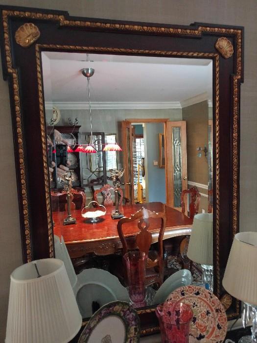 Big ol' mahogany mirror, with real 24k gold shells at each corner - NOT!
