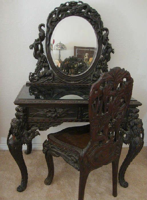 Japanese Carved Padouk wood Dressing Table / Vanity with Matching Chair