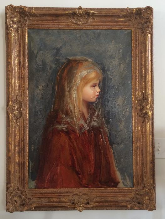 Oil on Canvas Painting Depicting Child With A Tear by Italian Artist Barcellini (Born in Spain, this artist is well-known for his portraits of young girls.)