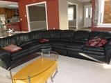 Beautiful black leather sectional