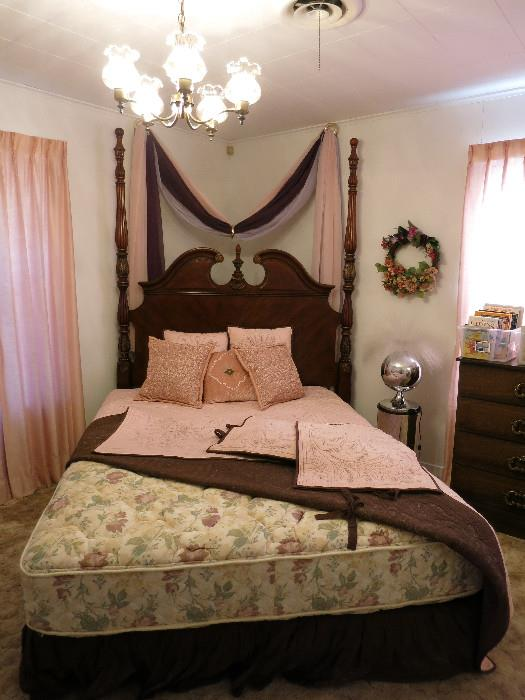 Beautiful Two Poster Bed, Queen Size Mattresses, Fantasia Fiber Optic Lamp and Stand (it's awesome!)