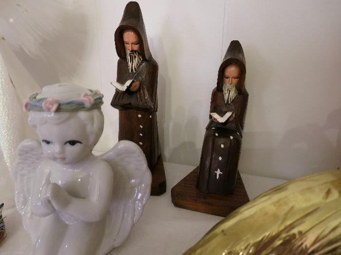Vintage Wood Figurine Monks