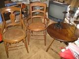 Cain chairs and foldup table