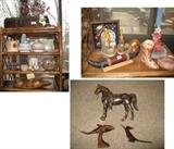 Many western items, horns, soapstone wood figures