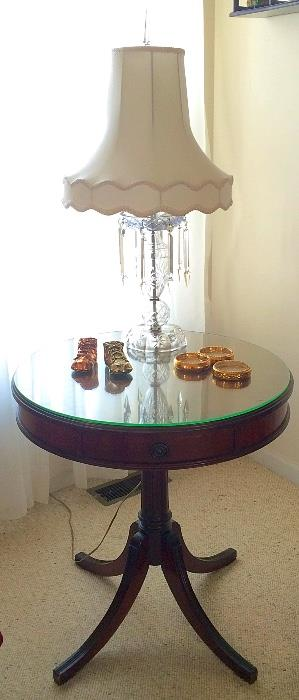 Handsome Drum Table with Glass Top & Single Drawer