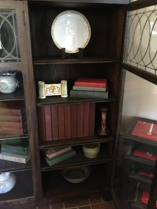 Antique Leaded Glass Mission Book Case