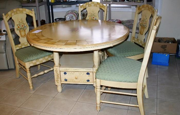 50'' Round Country  Kitchen Table W/ 4 Chairs