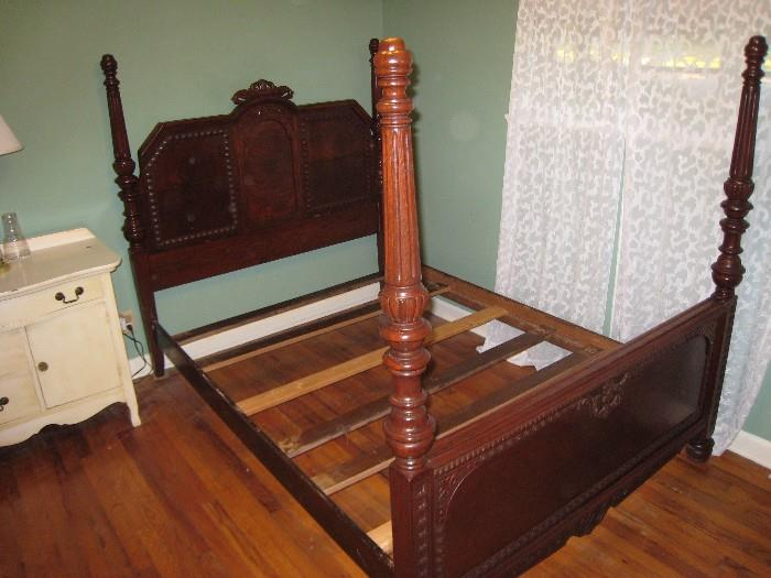 Exceptional antique 4-poster bed (white dresser-not in sale)
