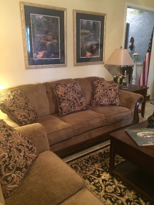 Good-looking sofa & love seat; coffee table (with lift top)