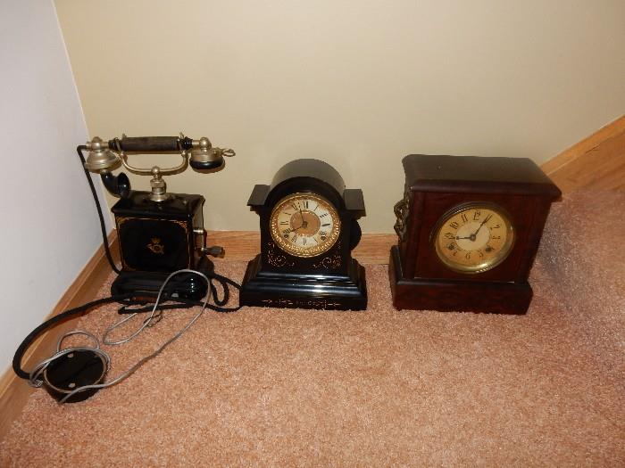 Some of the clocks and a great antique phone.