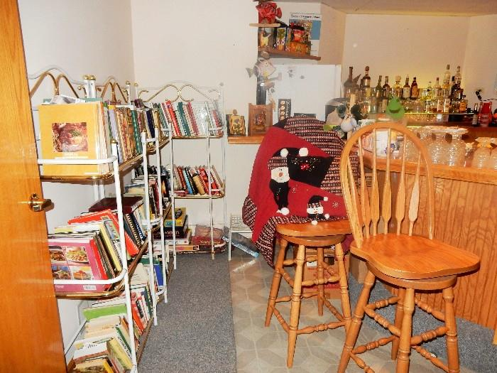 NOTE THE OAK BAR STOOLS ARE NOT FOR SALE.  BOOKS, FOR COOKING AND MORE