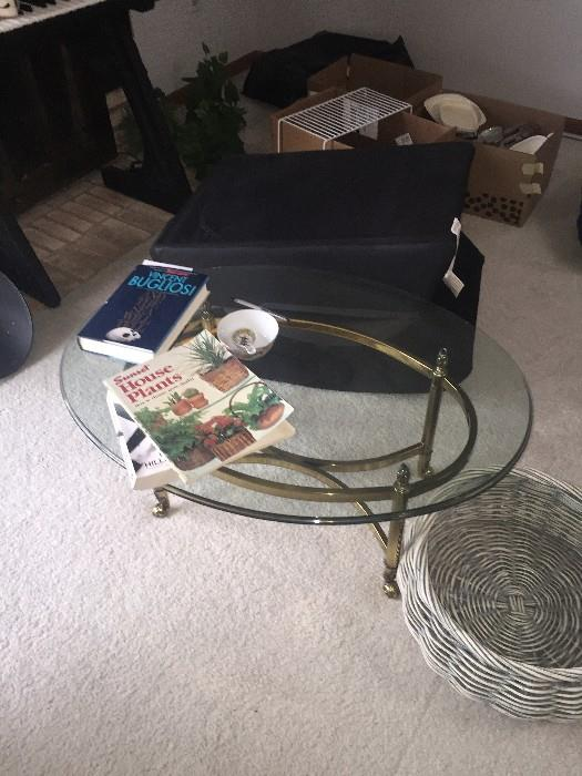 SMALL OVAL GLASS TOP TABLE