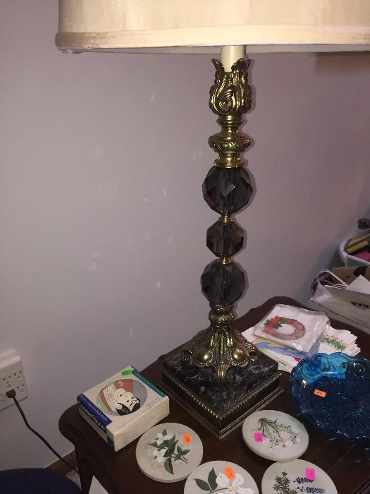 VINTAGE SMOKY GLASS AND MARBLE LAMP