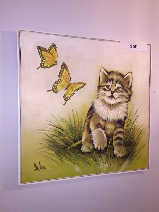 KITTY CAT OIL PAINTING