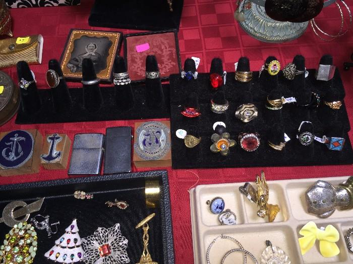 COSTUME RINGS AND STERLING SILVER RINGS