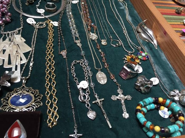 STERLING SILVER ROSARIES AND RELIGIOUS NECKLACE