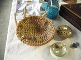 Woven basket with antlers