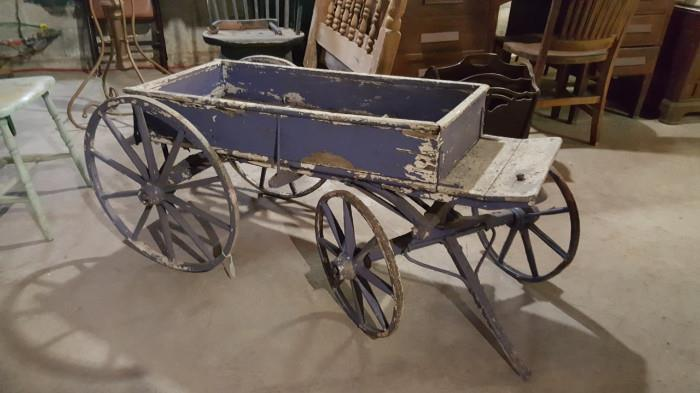 Gorgeous antique children's buckboard cart wagon