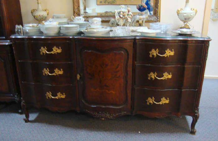 French Inlaid Buffet and matching China cabinet as well as Chest and Dining Table with Chairs