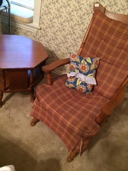 Maple rocker and matching side table