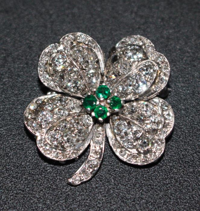 Gold, Diamond & Emerald Clover Pin