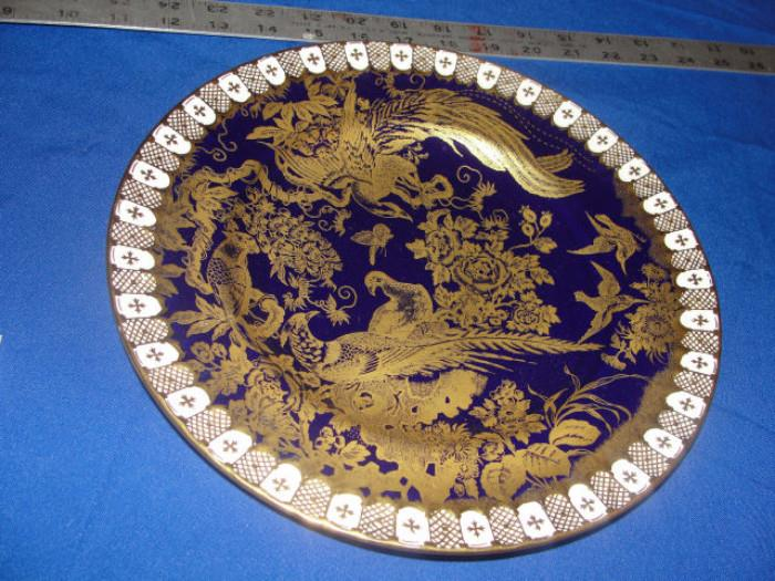 royal crown derby display dish cobalt blue golden lace 10.5""
