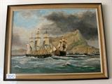 This is 1 of 14 Paintings by the artist.  Gibraltar Oil Painting, Artist Lawrence E. Donnison