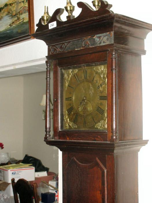 Grandfather Clock, Chimes, Brass, Hand Carved Oak Case, 1745