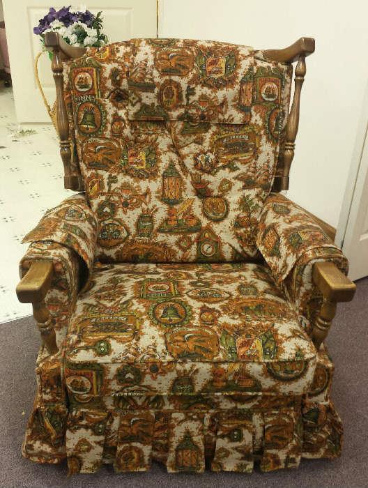 vintage upholstered/wood chair