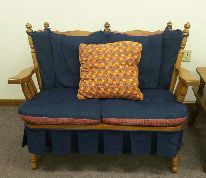 maple settee with cushions