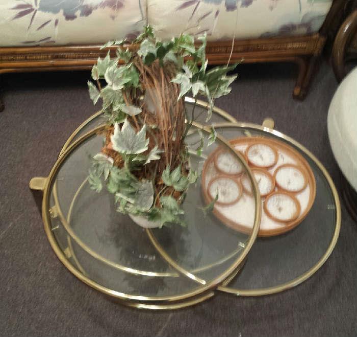 glass/brass 3 tier table
