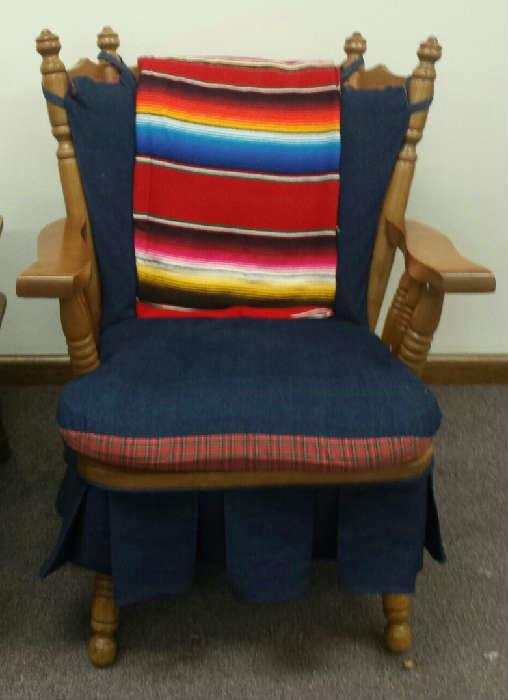 maple chair with cushions