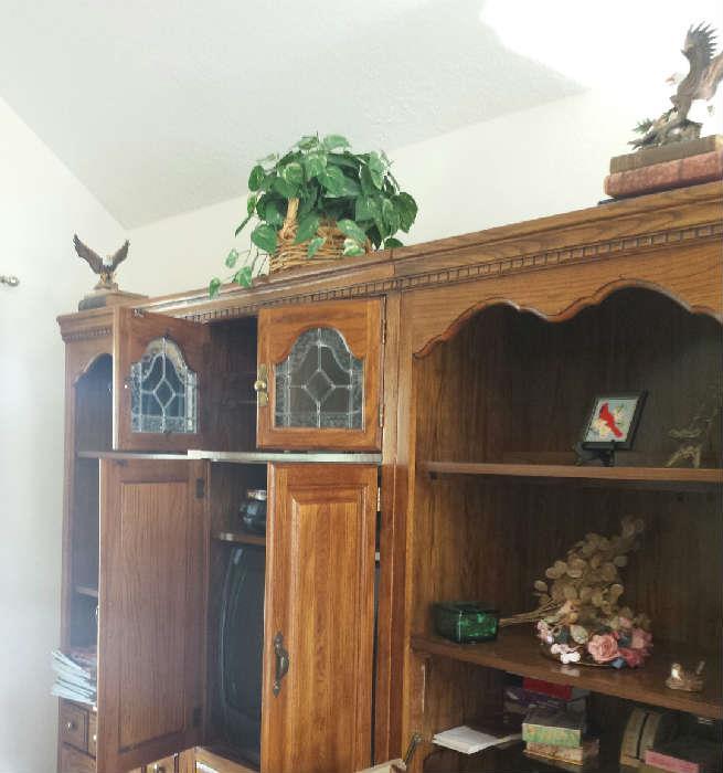 oak bookshelves and entertainment center