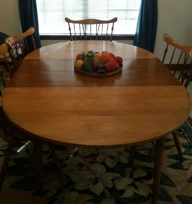 maple table/leaves/6 Windsor chairs