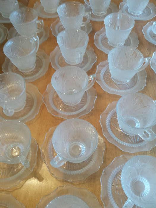 Iris & Herringbone cups and saucers