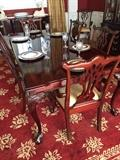 """Thomasville Dining Table with FOUR Captain Chairs, four Side Chairs, two leafs and pads 30"""" H x 76"""" L (w/o leaf +20"""" w leafs) x 45"""" W"""
