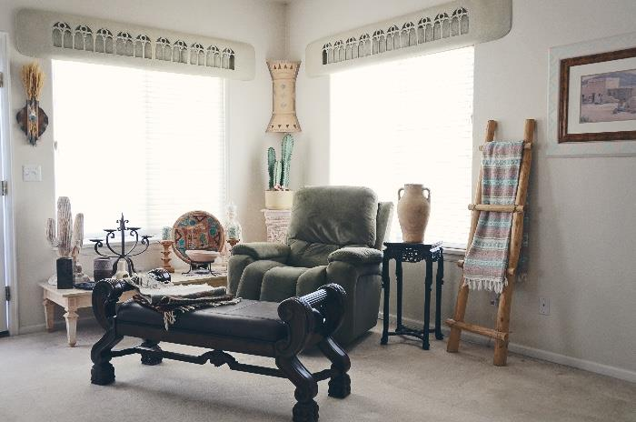 La-Z-Boy Power Lift Chair & Recliner, Sleigh Leather Upholstered Bench, Coffee Table, Antique Lamp Table, Southwest Decor