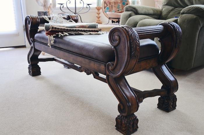 Sleigh Leather Upholstered Bench
