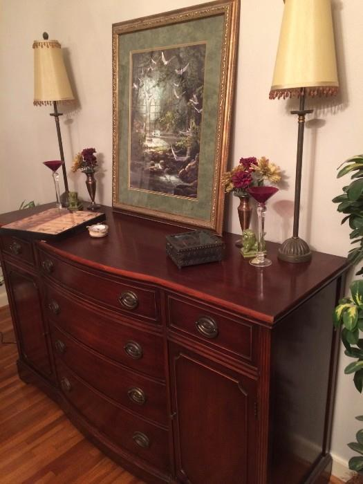 duncan phyfe style buffet with buffet lamps